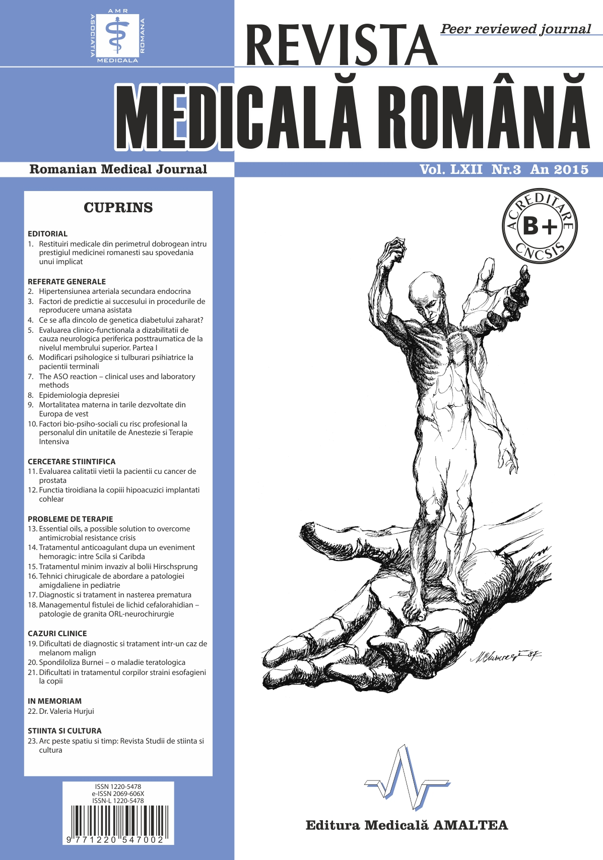 REVISTA MEDICALA ROMANA - Romanian Medical Journal, Vol. LXII, Nr. 3, An 2015