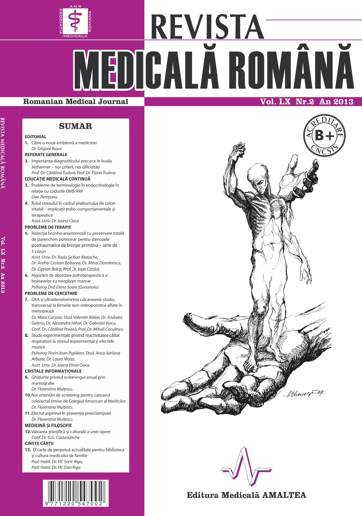 REVISTA MEDICALA ROMANA - Romanian Medical Journal, Vol. LX, No. 2, Year 2013