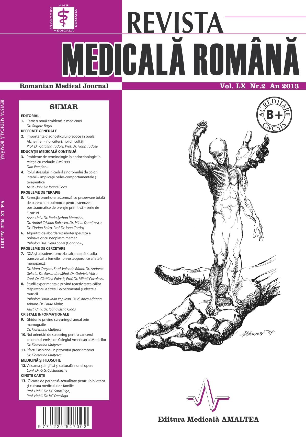 REVISTA MEDICALA ROMANA - Romanian Medical Journal, Vol. LX, Nr. 2, An 2013