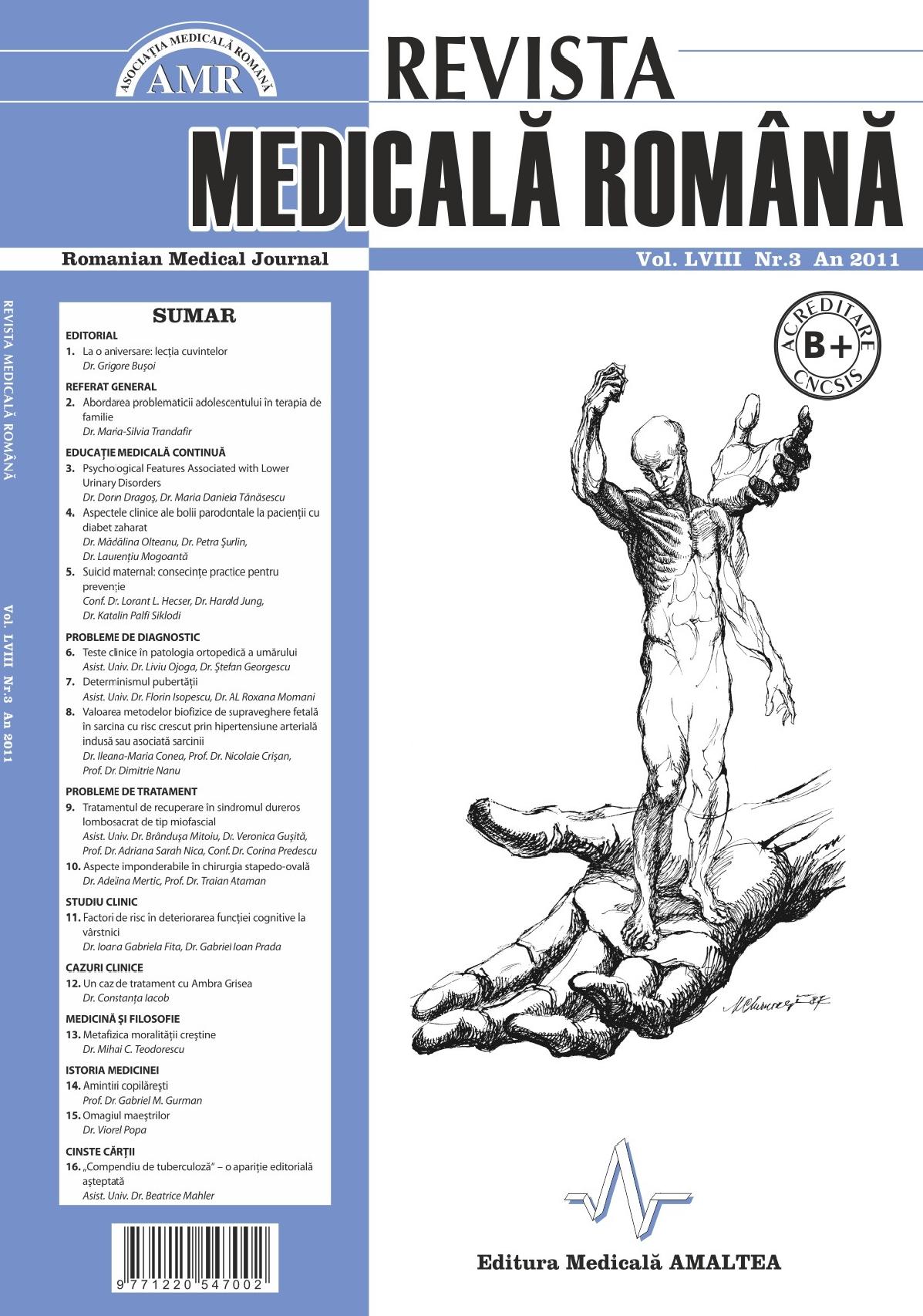 REVISTA MEDICALA ROMANA - Romanian Medical Journal, Vol. LVIII, Nr. 3, An 2011