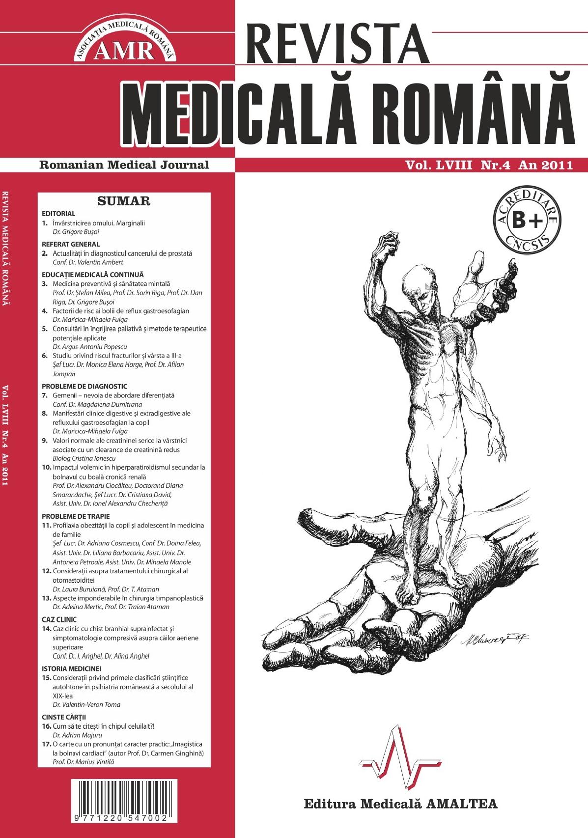 REVISTA MEDICALA ROMANA - Romanian Medical Journal, Vol. LVIII, Nr. 4, An 2011