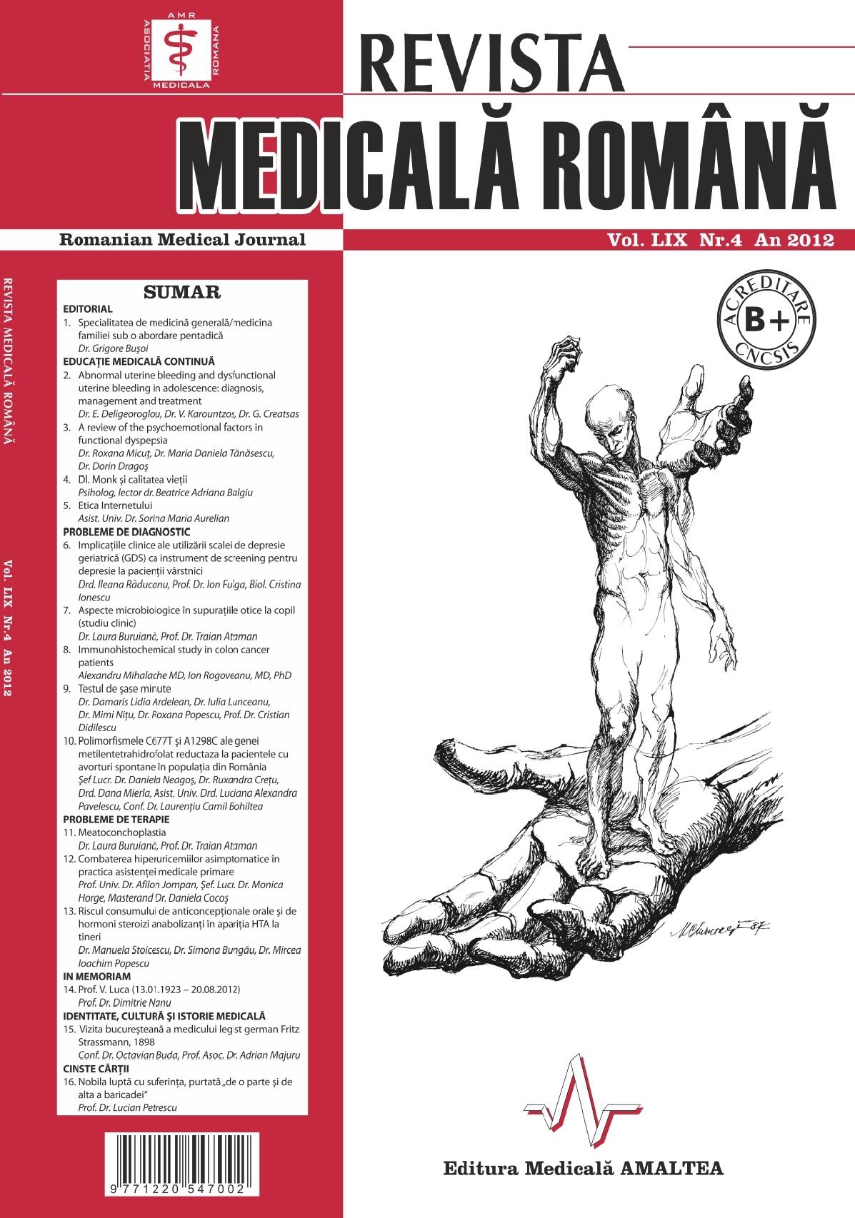 REVISTA MEDICALA ROMANA - Romanian Medical Journal, Vol. LIX, Nr. 4, An 2012