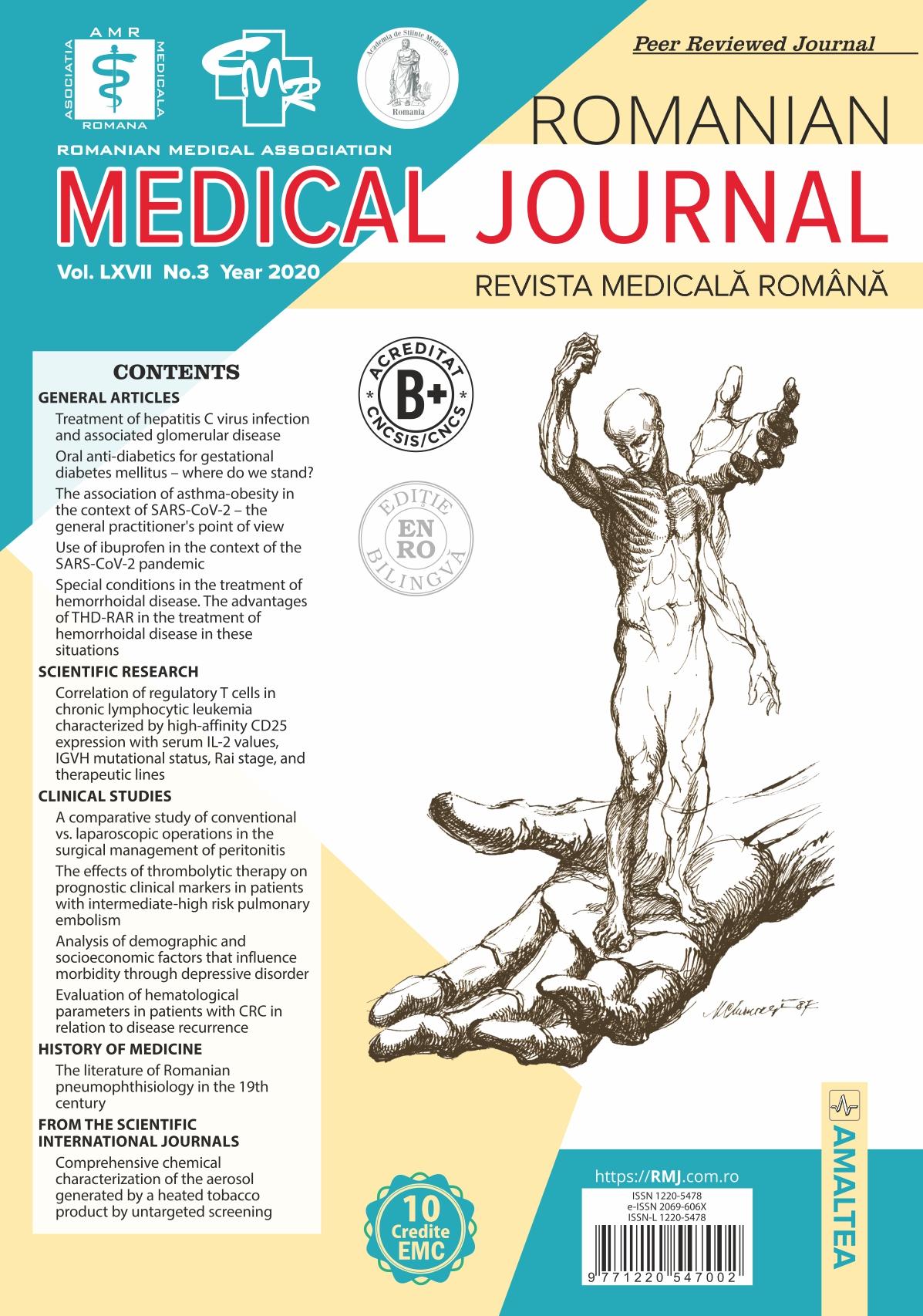 Romanian Medical Journal - REVISTA MEDICALA ROMANA, Vol. LXVII, No. 3, Year 2020